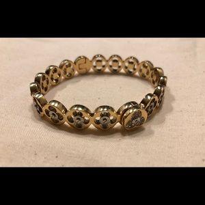 henri bendel Jewelry - Henri Bendel yellow gold pave petal cutout bangle